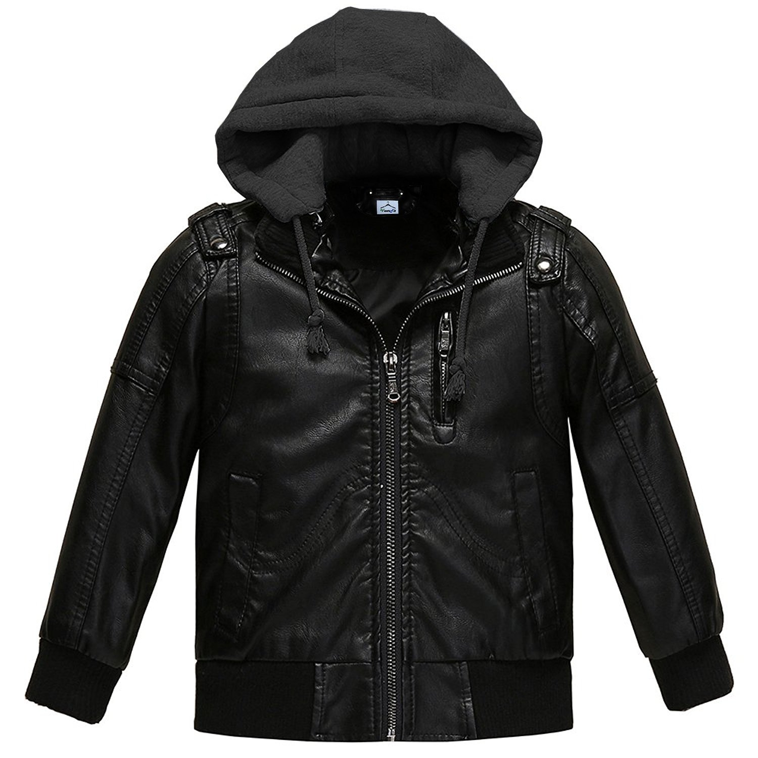 VearFit KIDO Hooded Lambskin Faux PU Leather Hooded Kids Jackets
