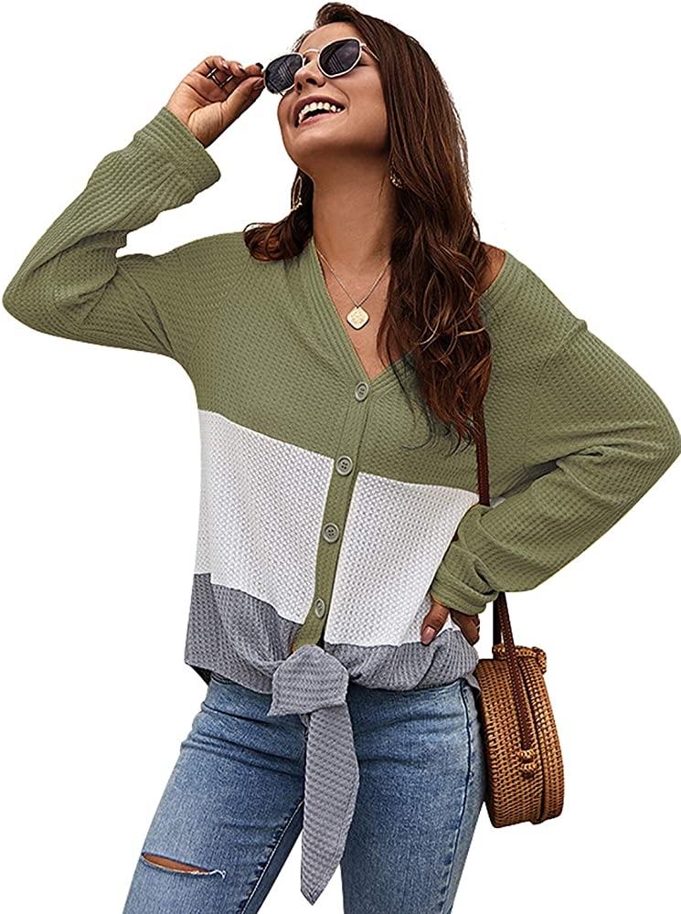 Women/'s Long Sleeve Buttons Down Loose Casual Pockets  Button Tops Shirt Blouse