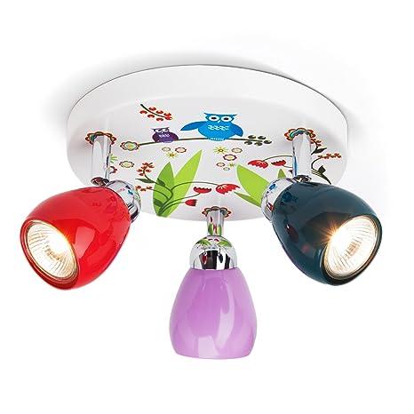 Lámpara de techo Birds 3 focos de búhos, diámetro 31 cm, incluye 3 x GU10 50 W halógena, de metal, verde