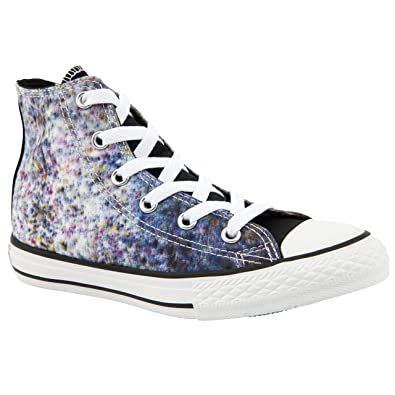 Girl Junior Converse All Star Print Black/White Canvas Shoes Size 2