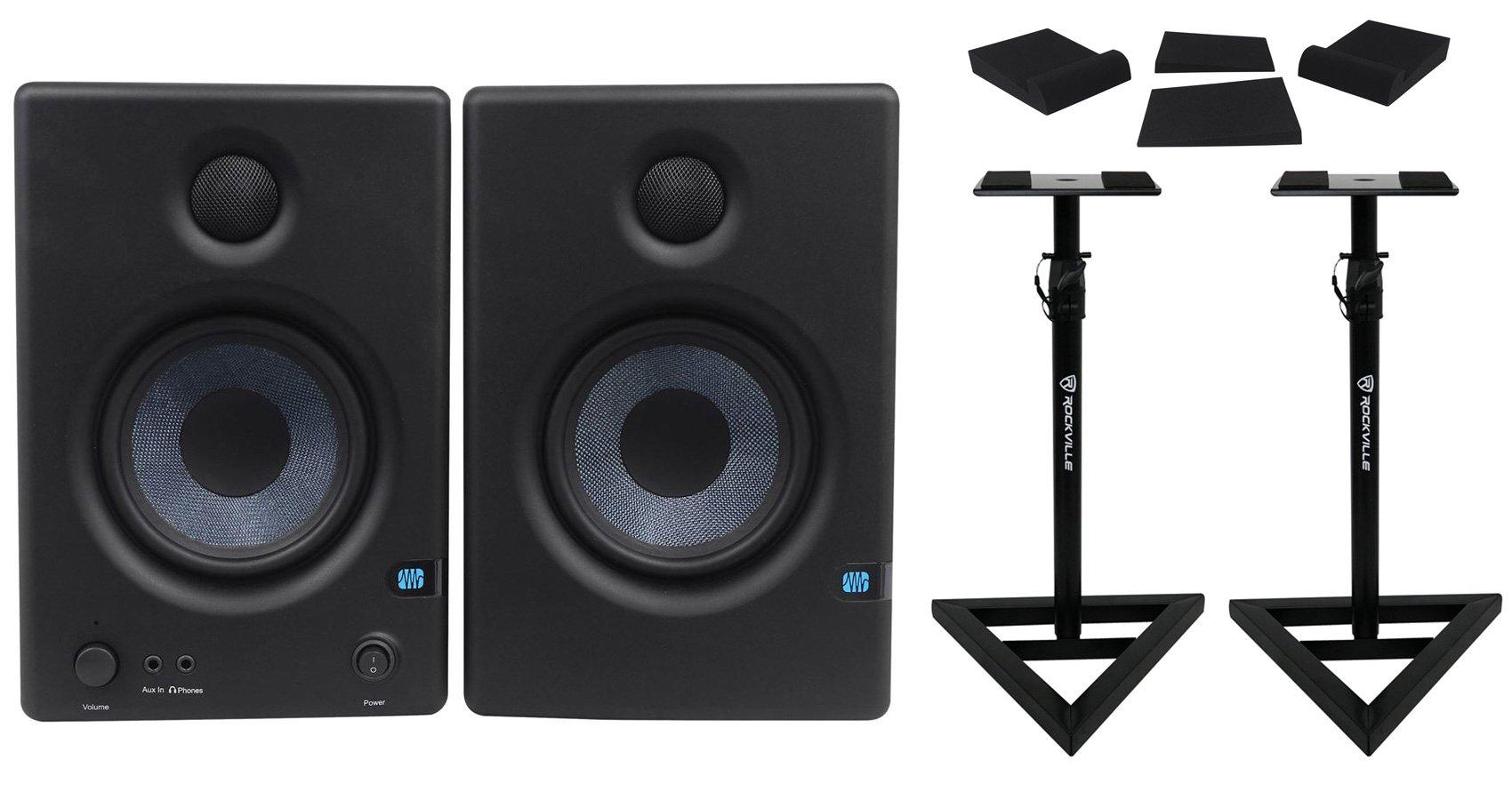 Package: Pair of Presonus Eris E4.5 2-Way 4.5'' Near Field Active/Powered Studio Monitors+ Pair of Rockville RVSM1 Heavy Duty Near-Field Studio Monitor Stands + Pair of Foam Isolation Pads