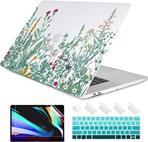"""Dongke MacBook Pro 13 inch Case 2019 2018 2017 2016 Release A2159 A1989 A1706 A1708, Garden Flower Frosted Matte Hard Shell Cover & Keyboard Cover Compatible with MacBook Pro 13"""" with/Out Touch Bar"""