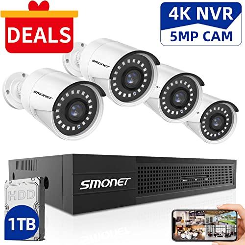 SMONET 5MP Security Camera Systems,8-Channel Home Video Surveillance System 1TB Hard Drive ,4pcs 5MP 2560TVL POE IP Cameras,Power Over Ethernet,24 7 Recording for NVR Kits,Indoor Outdoor CCTV Camera