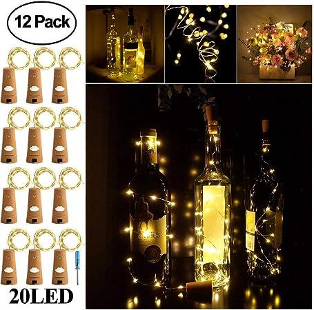 75/in//190/cm tappo bottiglia bottiglia di luci bianco caldo, confezione da 12 12/Pack Surlight 20/LED luce per feste di matrimoni Christmas Table Decor