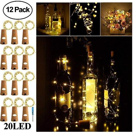 Para botella de vino de corcho botella de guirnalda de luces LED ...