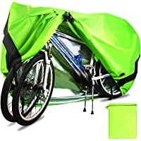 Temork Fahrradabdeckung für 2 Fahrräder, Wasserdichte 420D Oxford-Gewebe Atmungsaktives Draussen Fahrrad Schutzhülle mit Schlossösen Schutz, für Mountainbike und Rennrad 29 Zoll (Grün)