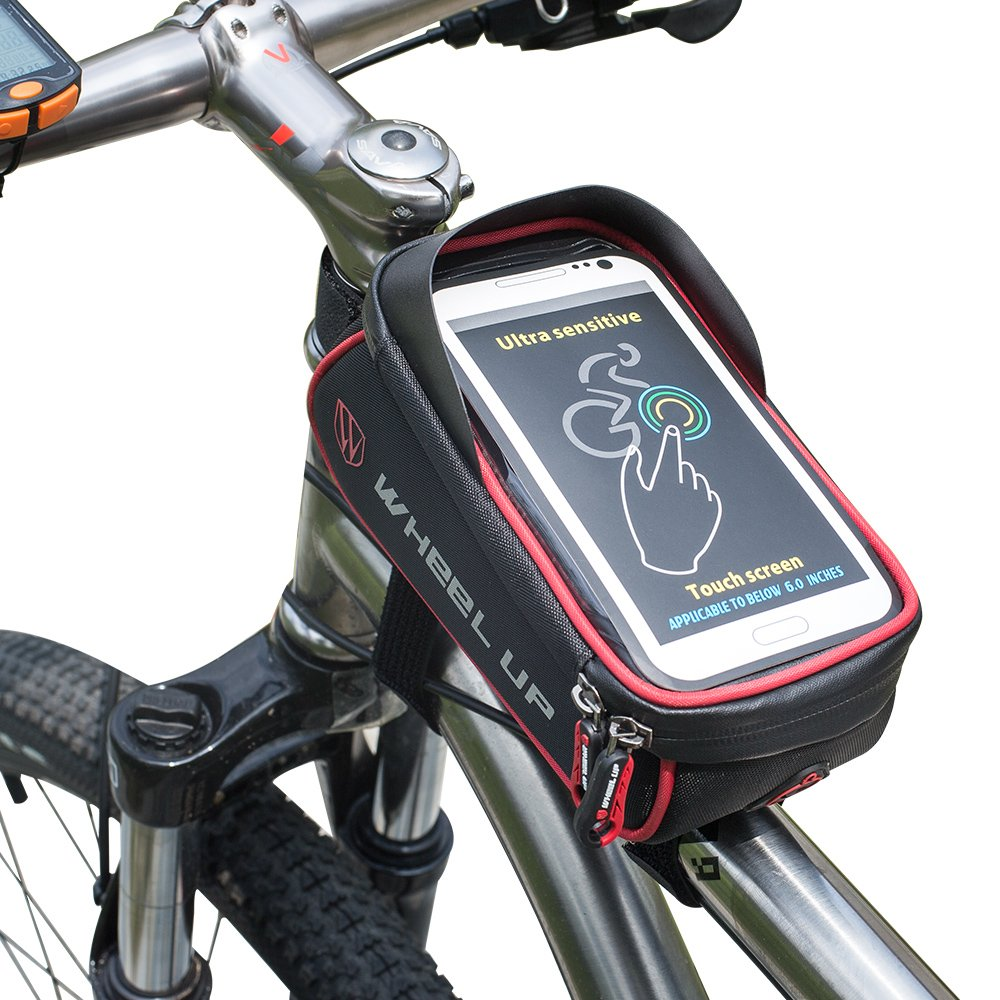 Sac de Cadre Vélo, Fozela Guidons Bag Top Sacoche Telephone Velo Tube Sac de Téléphone Etanche pour VTT, Cyclisme, Randonnée de vélo etc(Gray)