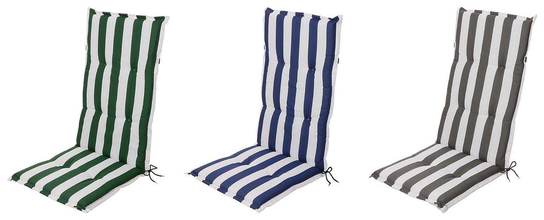 Chair cushion high-back chair cushion seat cushion garden chair cushion green and white stripes Schwar Textilien