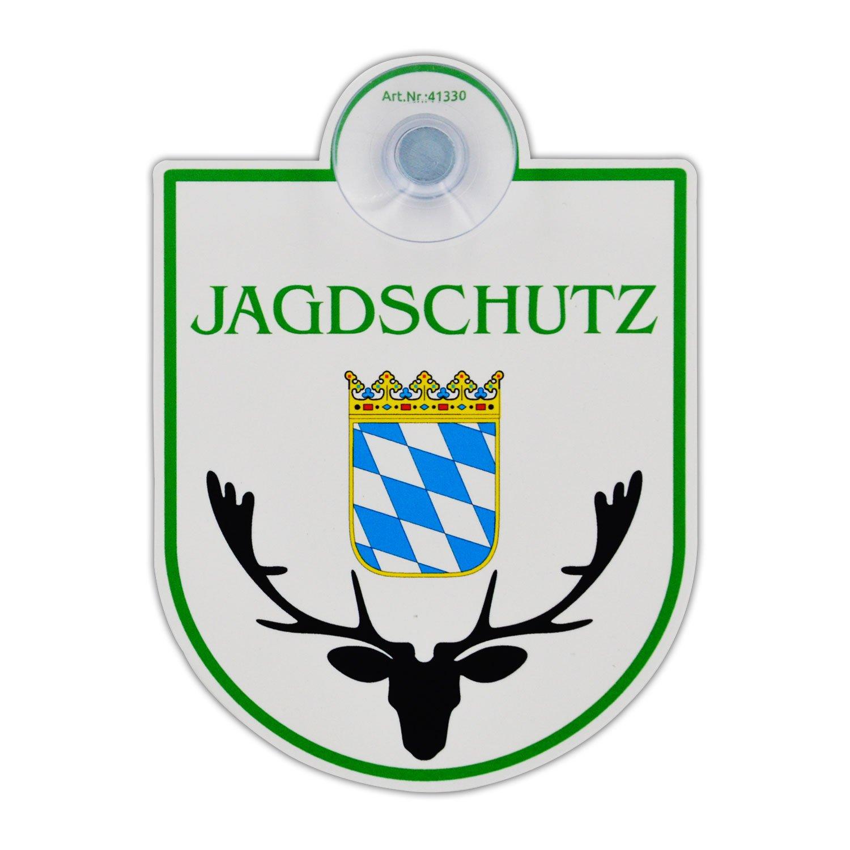 Saugnapfschild Schild 'Jagdschutz - Baden Wü rttemberg' Acrylschild 3mm mit Saugnapf 30mm, ca. 90x125 mm fü r Scheibeninnenbefestigung wall-art-design