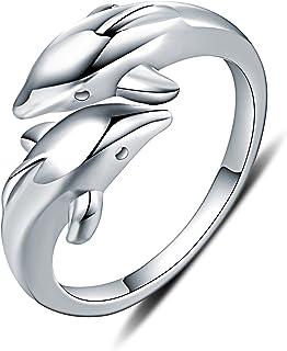WHCREAT Dolphin 925 Anneaux en Argent Sterling pour Les Femmes des Femme, Anneau Ouvert Réglable Anneau Ouvert Réglable SS-JZ-DNF0031