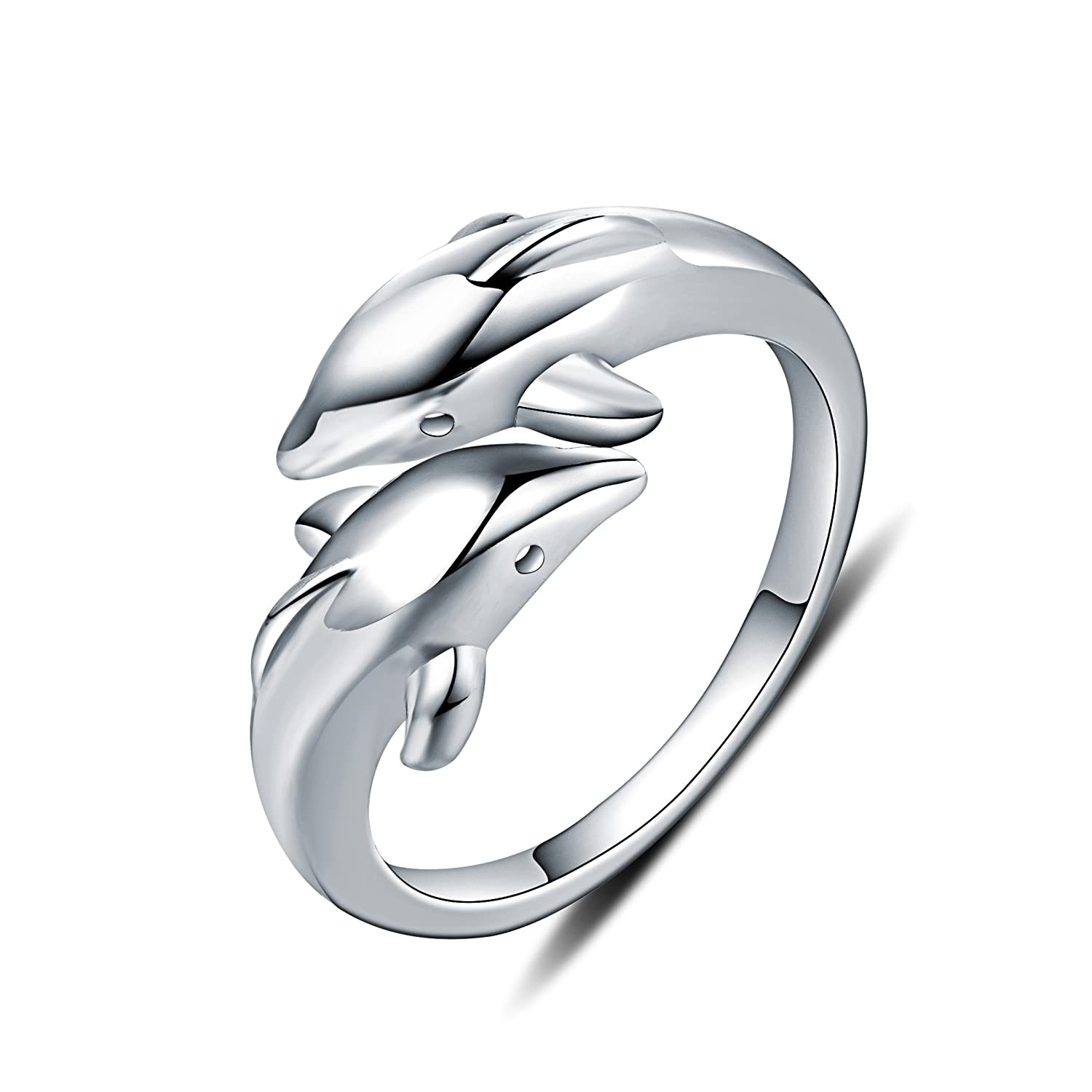 WHCREAT Dolphin 925 Sterling Silver Rings for Girls Women, Adjustable Open Ring SS-JZ-DNF0031