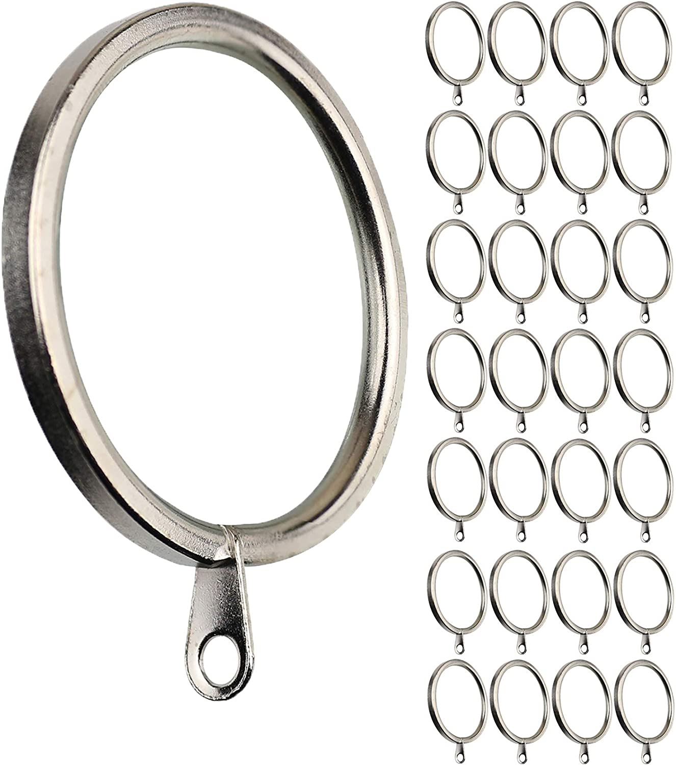 Blossm 28pack Curtain Rings with Clips Decorative Drapery Rustproof Vintage 1 Inch Interior Diameter( Black)