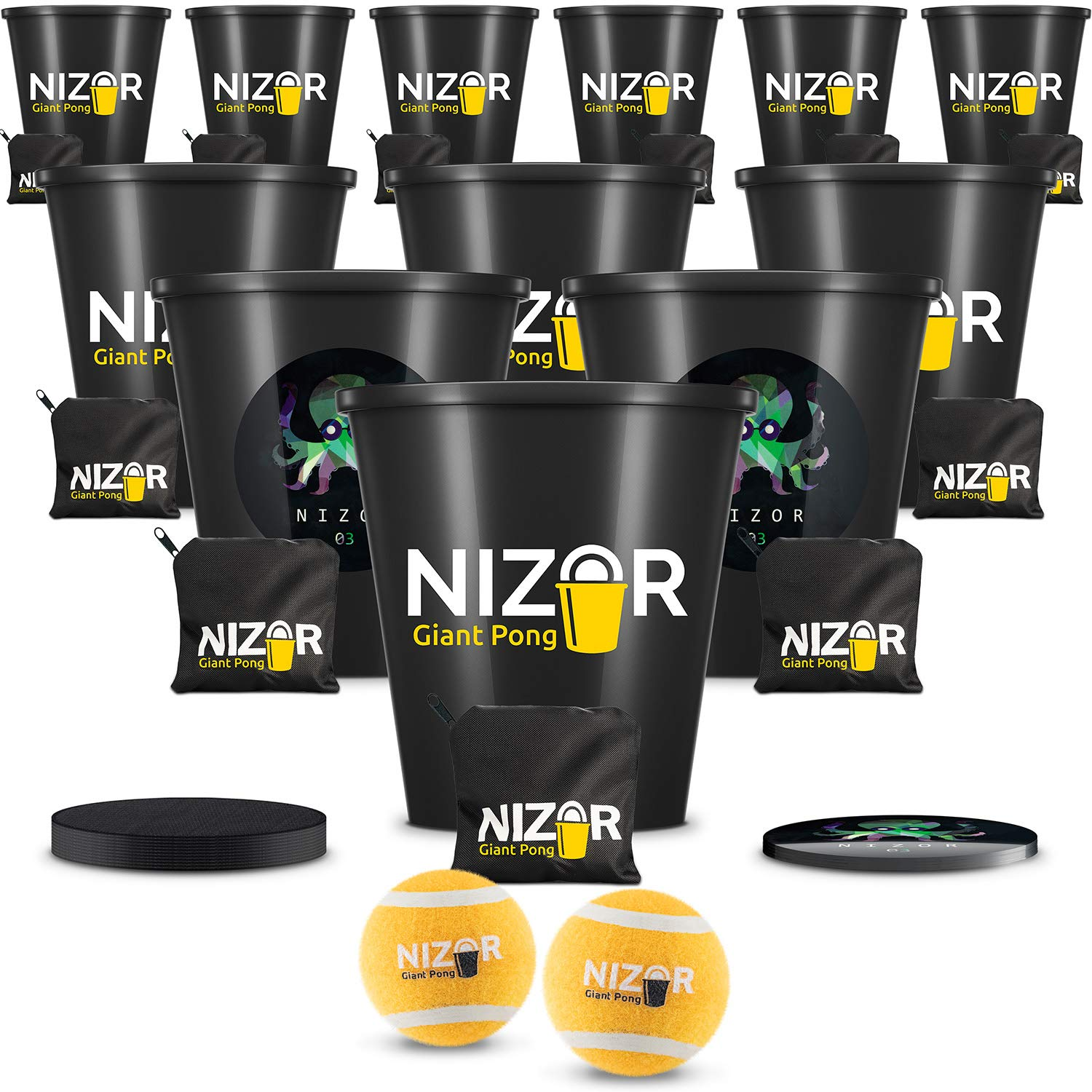Giant Pong Bucket Games & Balls Set   Lawn Jumbo Size Family   Premium Beach, Pool, Garden, Golf, Yard, Tailgate, Party   Indoor & Outdoor   Fluorescent Sticker   Best Gift Toy for Family by Nizor Pong