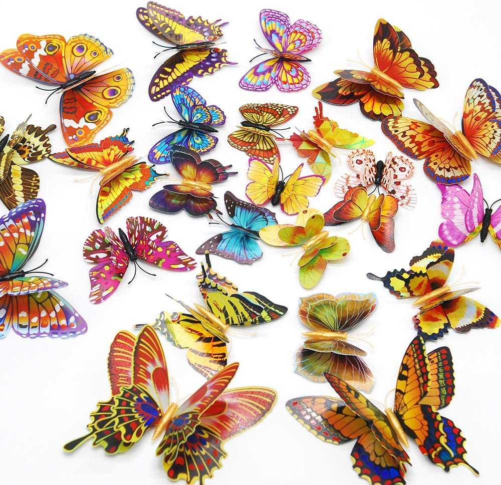 12 Stück 3D Luminous Butterfly Wandaufkleber Double Layer Art Decal Home Room