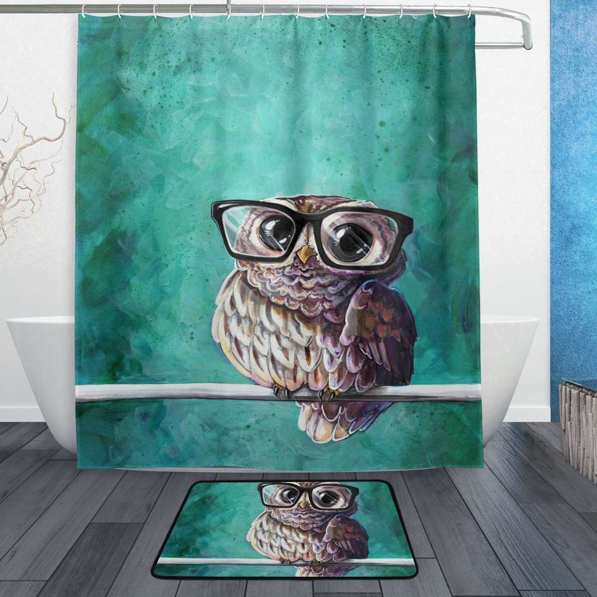 DEYYA Intellectual Owl Shower Curtain Polyester Fabric Bathroom Curtain Set with Mats Rugs-12 Hooks yl-dd-001