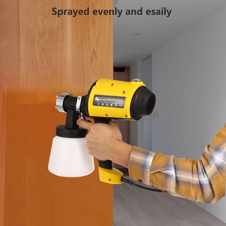Car Electric Spray Gun 800ml/min Paint Sprayer with Three Spray Patterns, Three Copper Nozzles, Adjustable Valve Knob (Yellow) by Ferty (Image #2)