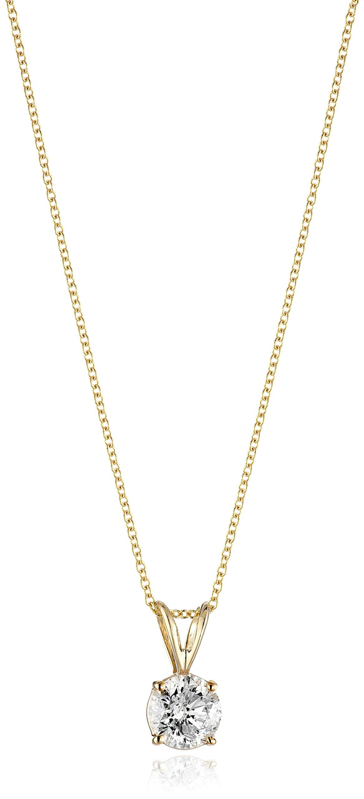 14k Gold Round-Cut Diamond Pendant Necklace (J-K Color, I2-I3 Clarity)