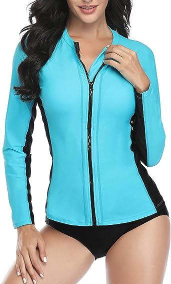 Swim Shirt Bathing Suit with Built in Bra Daci Women Rash Guard Long Sleeve Swimsuits UV UPF 50