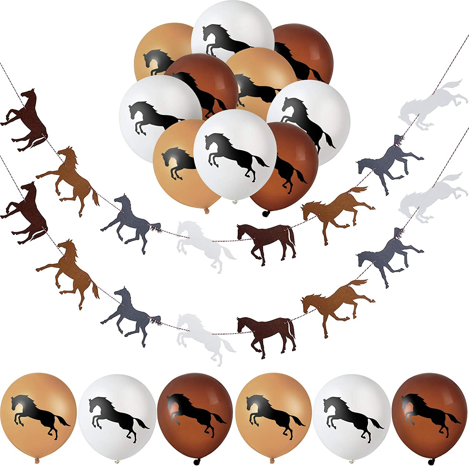 Horse Garland Banner Horse Latex Balloons Horse Racing Streamer Horse Party Garland for Horse Racing Birthday Wedding Party Decoration, Pre-Assembled