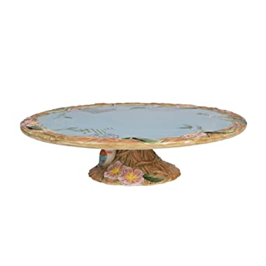 Fitz and Floyd 20-595 Toulouse Ceramic Footed Cake Plate, Brown