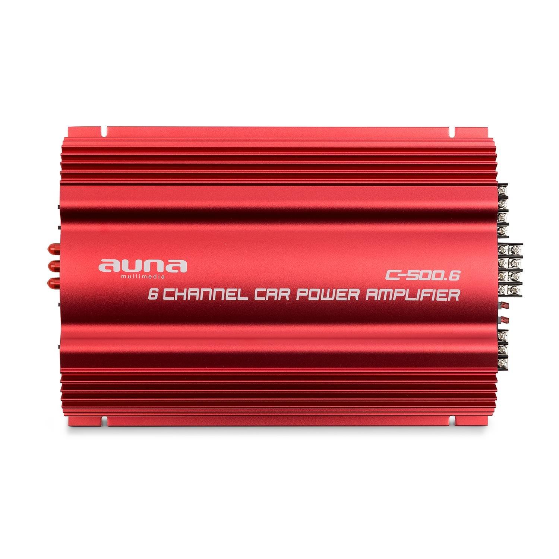 Auna C500.4 /• Amplificateur 4 canaux /• 4 x 65 Watts de Puissance RMS de Sortie /• Pontable /• Bass Boost activable /• Filtre r/églable /• Ch/âssis rafra/îchissant Rouge m/étal /• Rouge