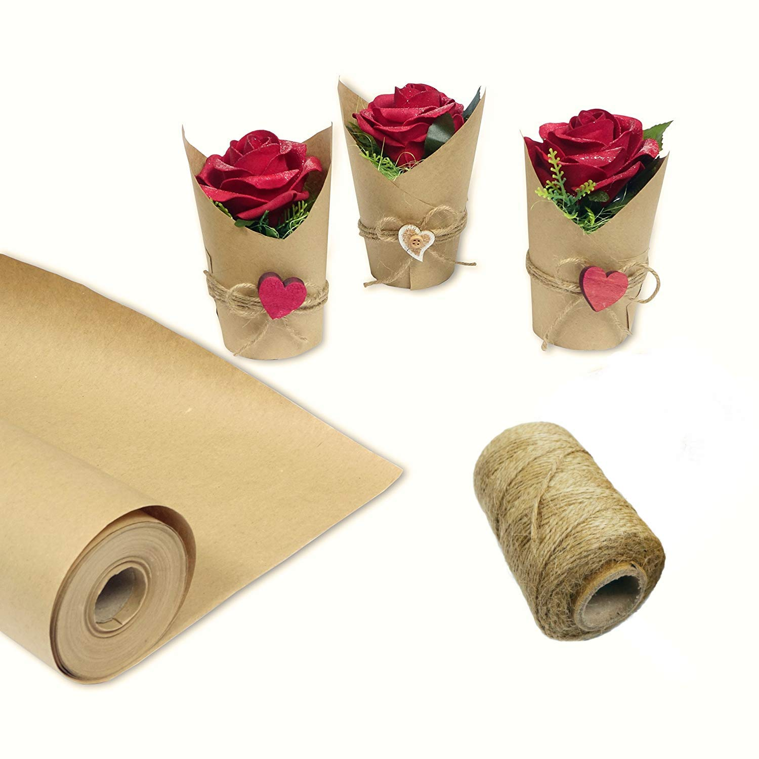 Shipping XL Thickness 50# Recycled Made in USA Table Runner Packing Dunnage Parcel Jumbo 30 x 1200 Postal Craft Brown Kraft Paper Roll for Gift Wrapping by Blami with Jute Twine 100 ft