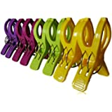 Towel Pegs 8 pcs. Durable Beach Towel Clips for Sunbeds in Bright Colours Hold in Place your Large Beach Towels in the Summer or your Heavy Laundry. (Multi)