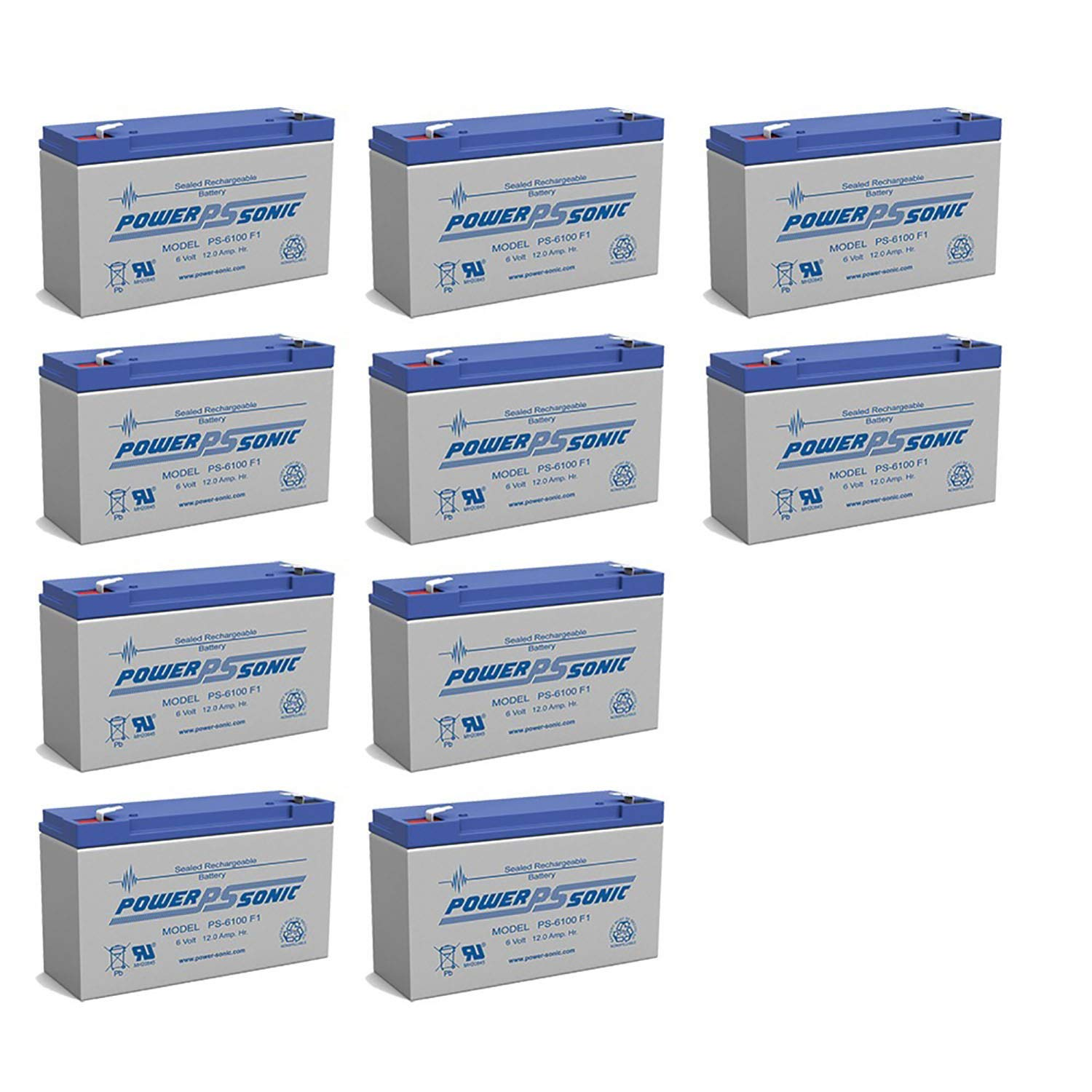 Power Sonic PS-6100 6V 12AH DEEP-Cycle Rechargeable SLA Energy Storage Battery - 10 Pack
