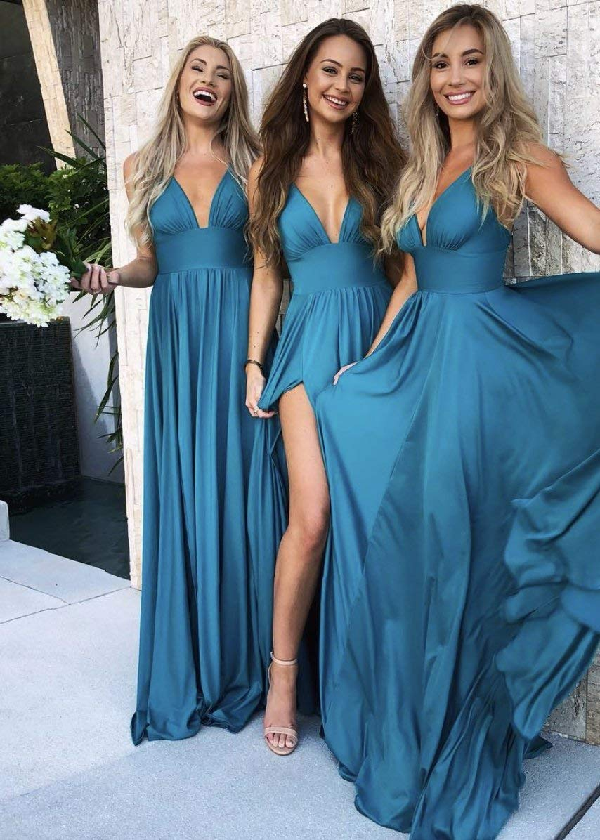 Plus Size Bridesmaid Dress with Split for Women Dusty Rose V-Neck Chiffon  Long Formal Evening Prom Gown US 20