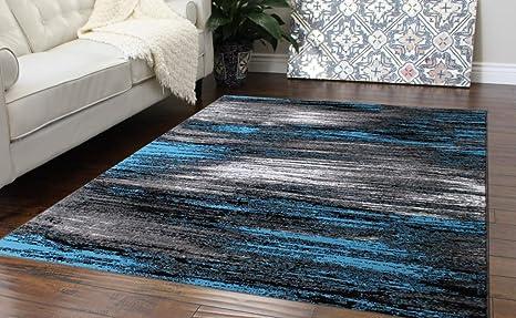 Masada Rugs Modern Contemporary Area Rug Blue Grey Black 5 Feet X 7 Feet