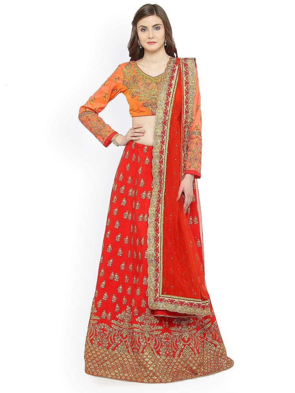 Generic WOMN Red & orange Embellished Ready to Wear Lehenga & Unstitched Blouse with Dupatta