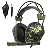 SA921Plus 3.5mm Wired Over Ear Stereo Gaming Headset Headband Headphones with Mic 50mm HiFi Speakers Noise Reduction for PC/ MAC/ PS4/ PSP/ Playstation Vita/ 3DS/ Switch/ Mobile Phones/ Tablets