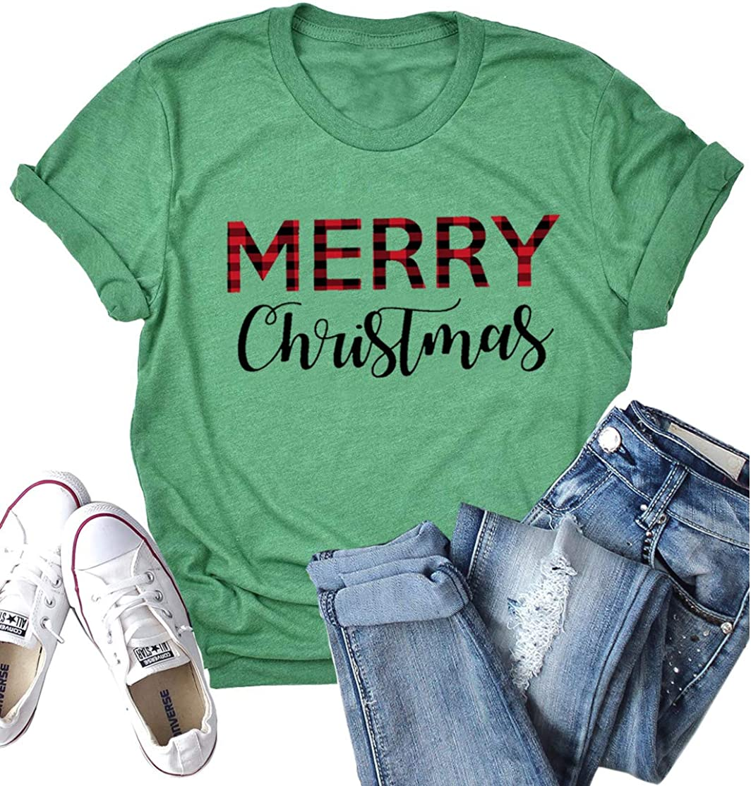 Beopjesk Womens Buffalo Plaid Tees Casual Long Sleeve Merry Letter Print Graphic Blouse Tops