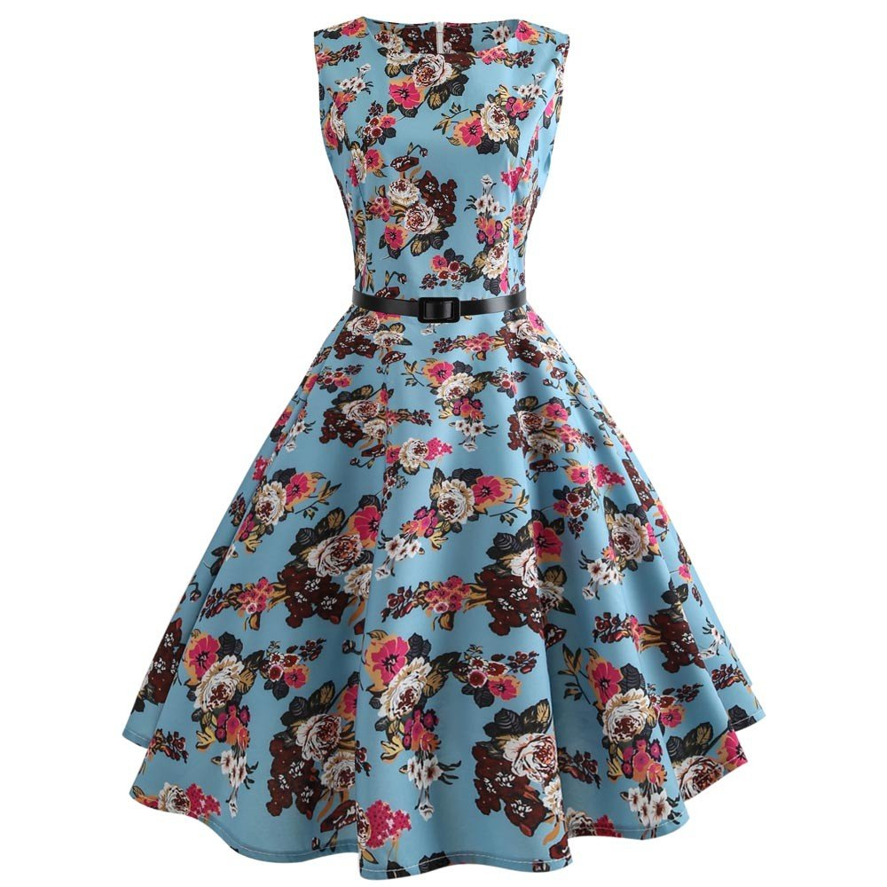 2019 Hot! Womens Vintage Printing Princess Dress Bodycon Sleeveless O-Neck Casual Evening Party Prom Swing Dress (Blue, M)