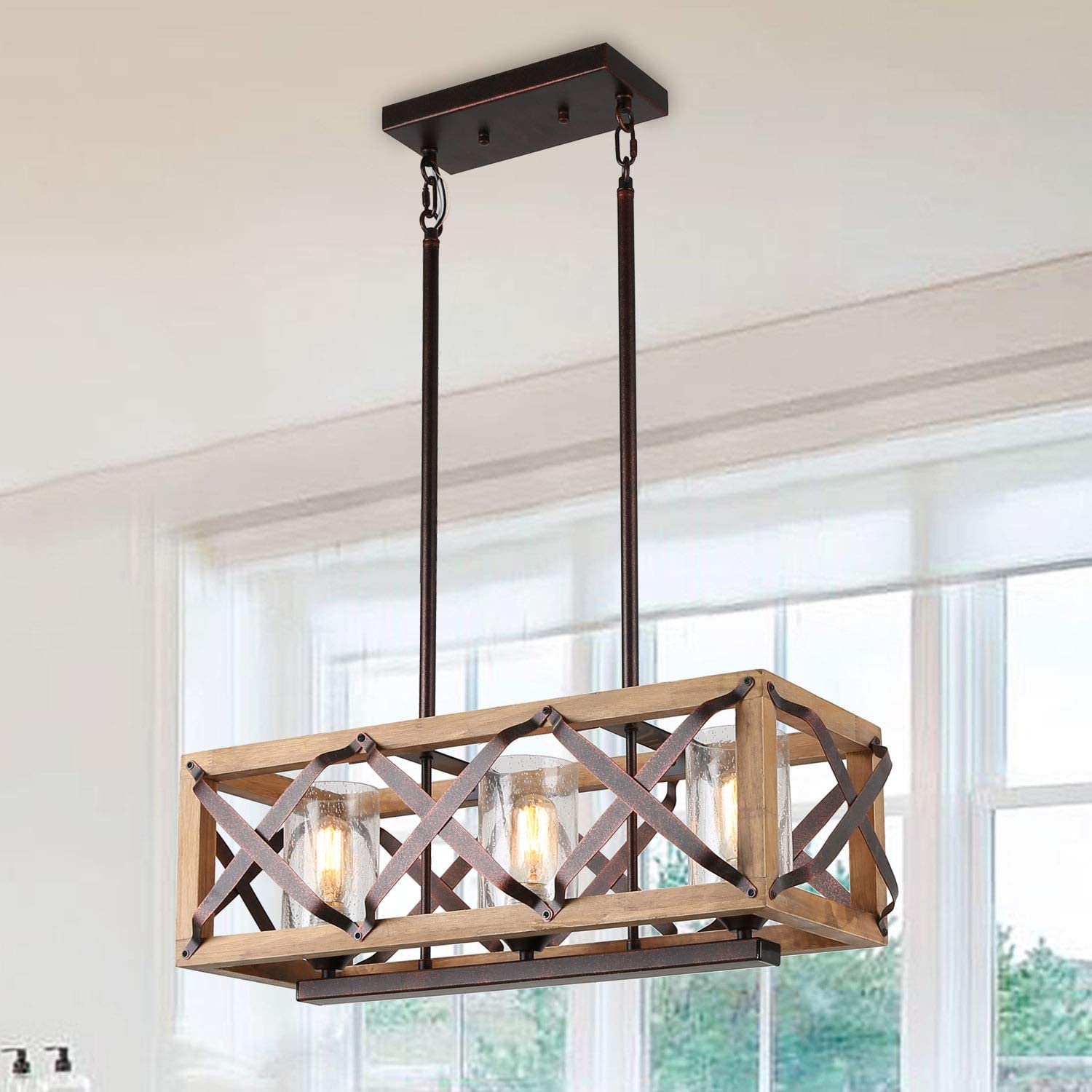Eumyviv C0029 3-Lights Rectangle Wood Metal Pendant Lamp Light Fixture with Bubble Glass Shade Black Finished Retro Rustic Vintage Industrial Edison Ceiling Lamp Linear Chandeliers