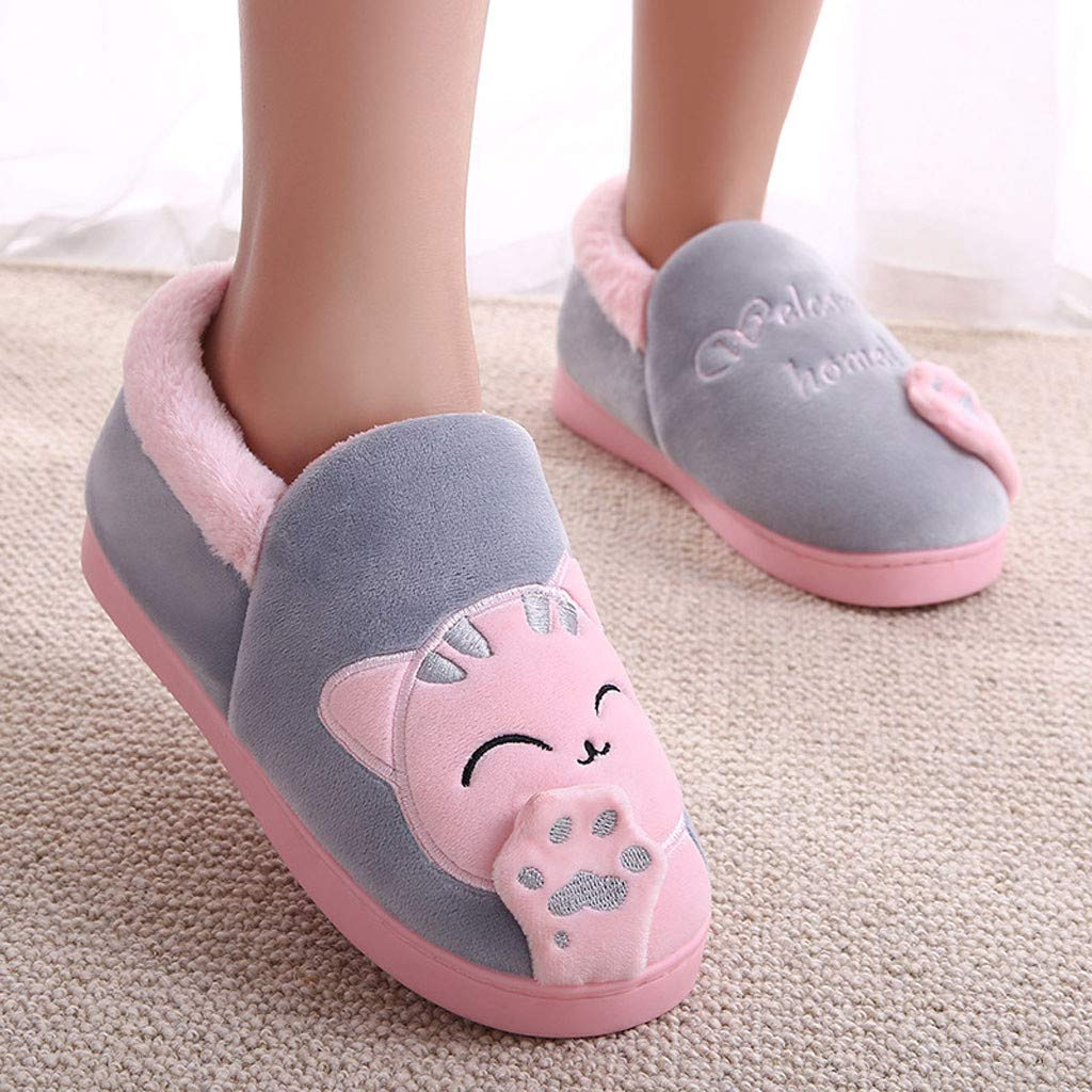 5ba91a0e7f5 Amazon.com  Lurryly Women Fashion Winter Home Slippers Cartoon Cat Non-Slip  Warm Indoors Bedroom Floor Shoes 2019Clearance!  Clothing