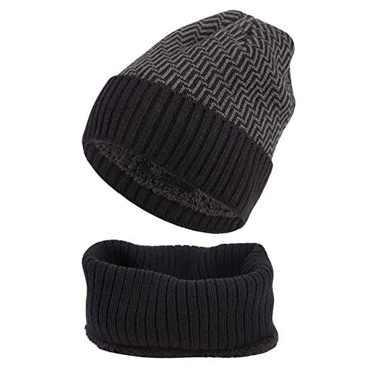 4786a37788a72 Mens Winter Beanie Hat Scarves One Set Warm Fleece Lined Snow Knit Skull  Ski Cap Hats