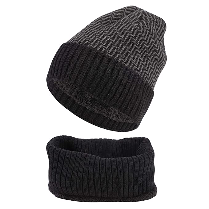 99ca15494 IBLUELOVER Unisex Winter Beanie Hat And Snood Scarf Set Warm Knitted ...