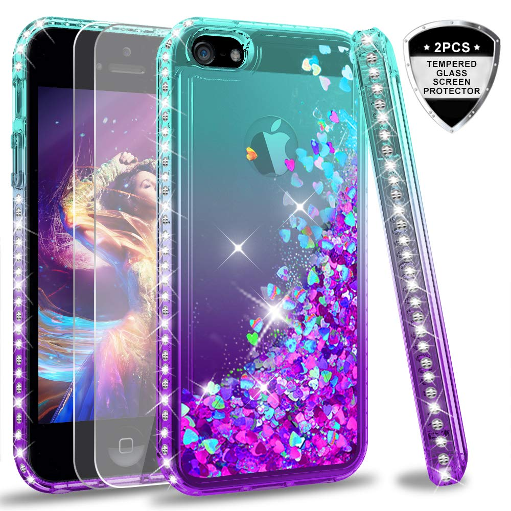 iPhone 5S Case, iPhone SE Case with [2 Pack] Tempered Glass Screen Protector for Girls Women, LeYi Glitter Bling Liquid Quicksand TPU Protective Phone Case for iPhone 5 ZX Gradient Purple/Blue