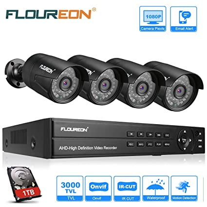 FLOUREON CCTV Security Camera Systems 8CH 1080N AHD DVR Kit 1TB HDD + 4x  1080P 3000TVL 2 0MP Outdoor Cameras Support TVI/CVI/AHD/Analog/ONVIF IP