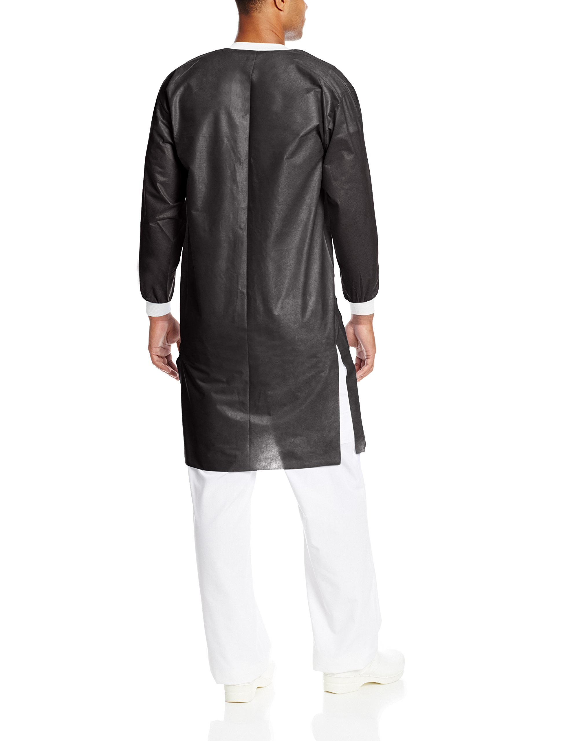 ValuMax 3660BK2XL Extra-Safe, Wrinkle-Free, Noble Looking Disposable SMS Knee Length Lab Coat, Black, 2XL, Pack of 10 by Valumax (Image #2)