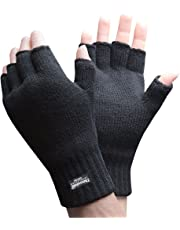 Mens 3M Thinsulate 40 gram Thermal Insulated Black Knit Winter Fingerless Gloves