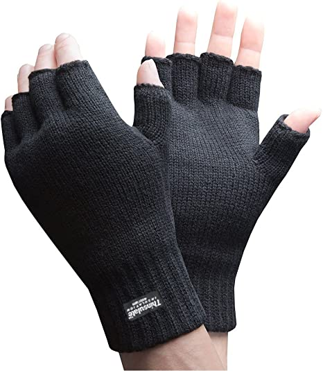 Mens Thinsulate 3M Thermal Fingerless Gloves Black L/XL GL131: Amazon.es: Deportes y aire libre