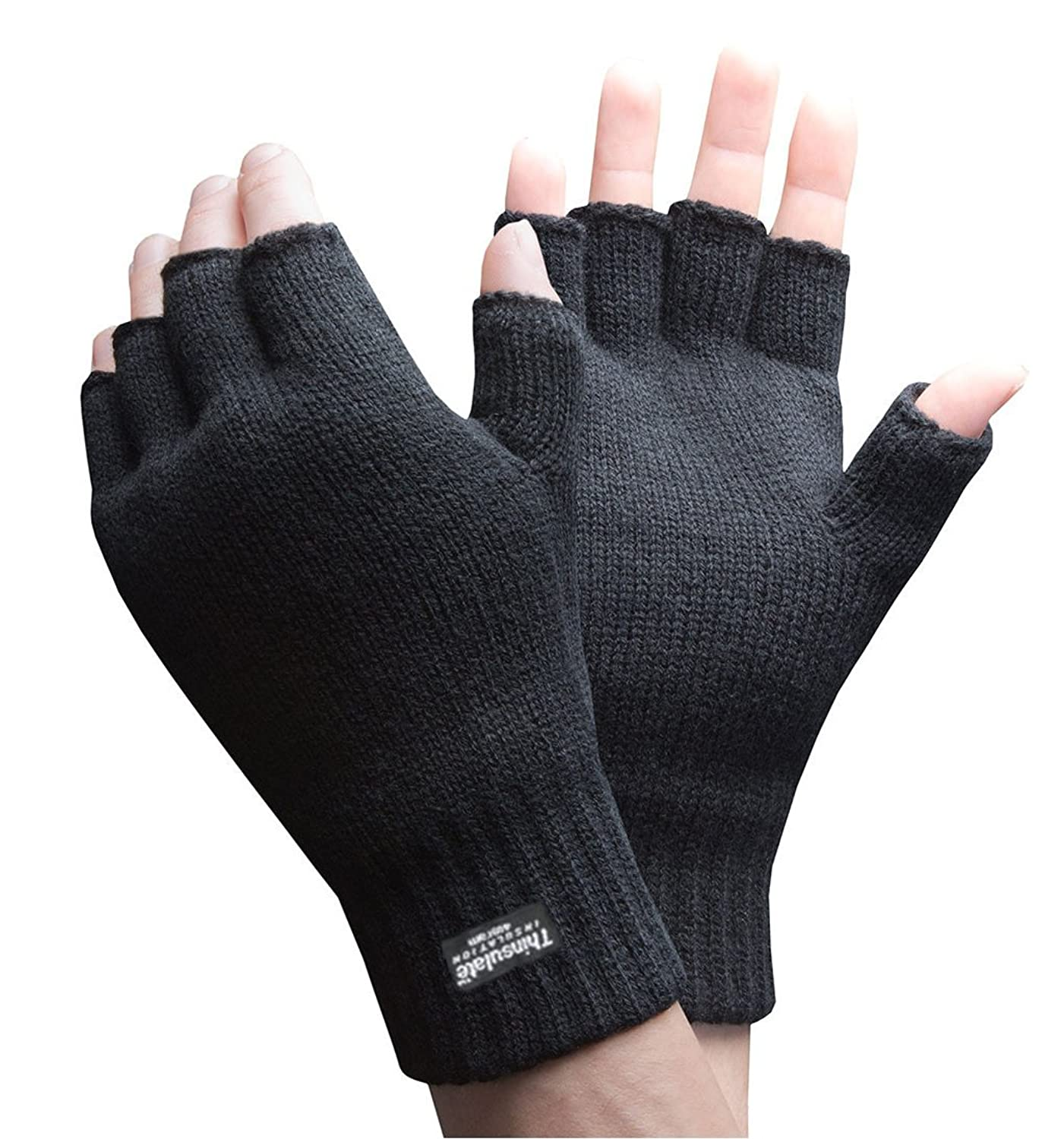 Mens 3M Thinsulate 40 gram Thermal Insulated Black Knit Winter ...
