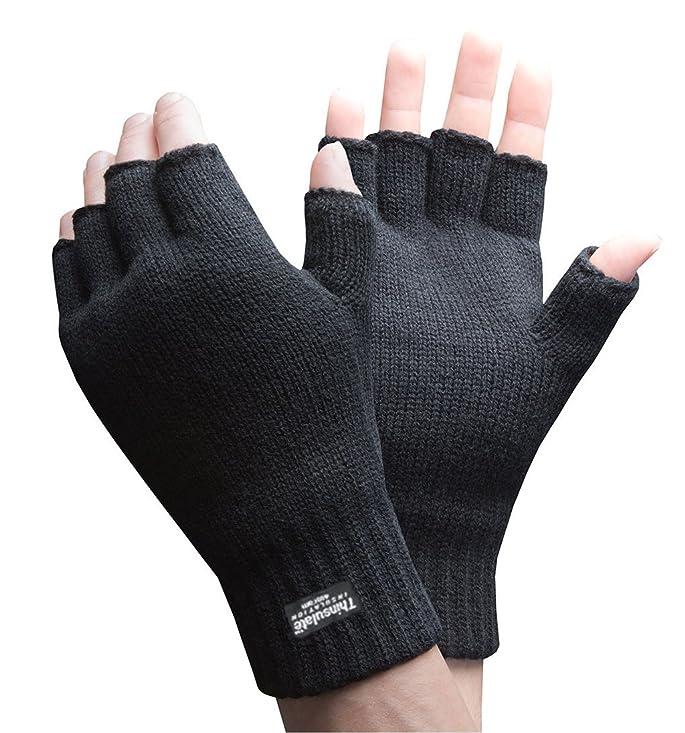 Mens 3M Thinsulate 40 gram Thermal Insulated Black Knit Winter Fingerless Gloves (Medium / Large)