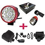 PONATIA Super Bright 9x CREE XM-L T615000LUMEN Faro Bicicletta Mountain Bike + Solar Tail Light + caricabatteria per Running Pesca Campeggio Ciclismo