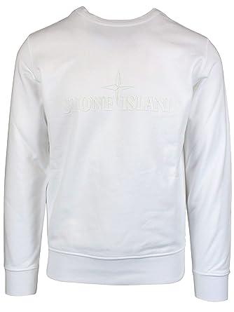 faire les courses pour haut de gamme pas cher une grande variété de modèles Stone Island Homme 701560151V0001 Blanc Coton Sweatshirt ...
