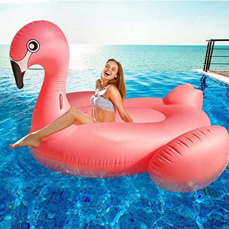 "TURNMEON Large Inflatable Flamingo Pool Float Party Toys with Durable Handles, Summer Beach Float Swimming Pool Inflatables Ride-on Pool Toys Raft Lounge Mega Island for Adults Kids(102""x 45"" x 41"")"