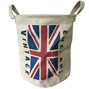 NewFeru Collapsible Vintage Round Burlap Woven Storage Basket Bin Linen Food Container Holder Jute Toy Bucket Organizer with Handles,Flags for Home Closet Cabinet Shelves,Room Table Desk (England)