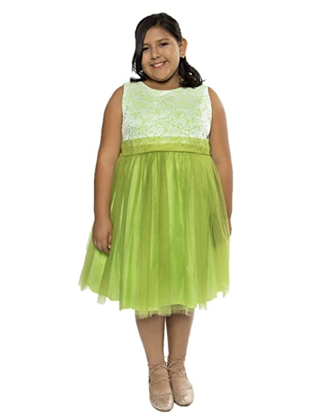 4d8e74e0a360 Amazon.com  Kid s Dream Big Girls Lime Lace Tulle Plus Size Junior ...